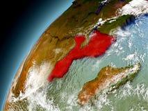 Mozambique de la órbita de Earth modelo Fotos de archivo libres de regalías