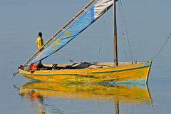 Mozambique dhow. Traditional sail boat called a dhow, Vilanculos coastal sanctuary, Mozambique Royalty Free Stock Images