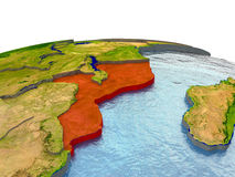 Mozambique on Earth in red Stock Photo