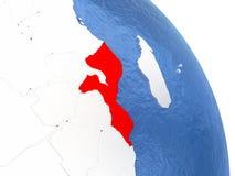 Mozambique on elegant globe Royalty Free Stock Images