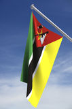 Mozambique flag. Suspended from flag pole; with clipping path stock illustration