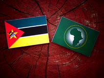 Mozambique flag with African Union flag on a tree stump. Mozambique flag with African Union flag on a tree stump Stock Photography