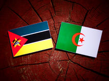 Mozambique flag with Algerian flag on a tree stump isolated. Mozambique flag with Algerian flag on a tree stump Royalty Free Stock Photos