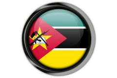 Mozambique  flag in the button pin Isolated on White Background Royalty Free Stock Photo