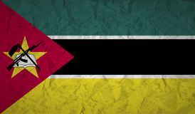 Mozambique flag with the effect of crumpled paper and grunge Stock Photo