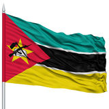 Mozambique Flag on Flagpole. Flying in the Wind, Isolated on White Background Stock Image