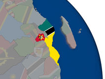 Mozambique with flag on globe Stock Images
