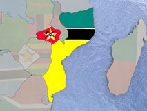 Mozambique with flag on globe Royalty Free Stock Photos