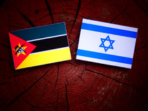 Mozambique flag with Israeli flag on a tree stump. Mozambique flag with Israeli flag on a tree stump Royalty Free Stock Photography