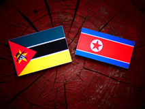 Mozambique flag with North Korean flag on a tree stump. Mozambique flag with North Korean flag on a tree stump Royalty Free Stock Photography