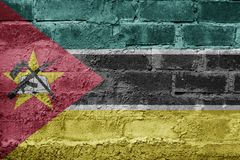 Mozambique FLAG PAINTED ON BRICK WALL COOL. NICE Royalty Free Stock Photos