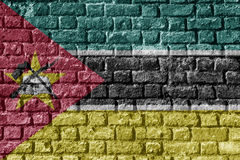 Mozambique Flag Painted on brick wall nice. Mozambique Flag Painted on brick wall Royalty Free Stock Image