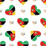 Mozambique flag patriotic seamless pattern. National flag in the shape of heart. Vector illustration Stock Photos