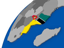 Mozambique with flag on political globe Stock Photo