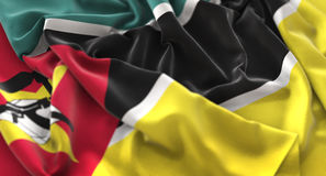 Mozambique Flag Ruffled Beautifully Waving Macro Close-Up Shot Royalty Free Stock Images