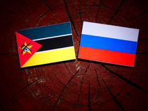 Mozambique flag with Russian flag on a tree stump. Mozambique flag with Russian flag on a tree stump Stock Photography