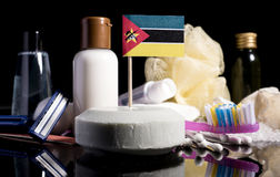 Mozambique flag in the soap with all the products for the people. Hygiene Royalty Free Stock Images
