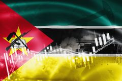 Mozambique flag, stock market, exchange economy and Trade, oil production, container ship in export and import business and. Logistics, background, banner stock illustration