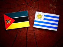 Mozambique flag with Uruguaian flag on a tree stump isolated. Mozambique flag with Uruguaian flag on a tree stump Royalty Free Stock Image