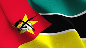 Mozambique flag waving on wind. Mozambican background fullscreen flag blowing on wind. Realistic fabric texture on windy day Stock Photography