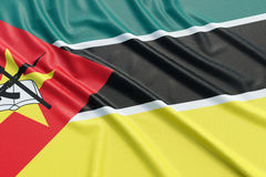 Mozambique flag. Wavy fabric high detailed texture. 3d illustration rendering Stock Images