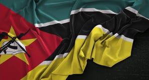 Mozambique Flag Wrinkled On Dark Background 3D Render. Digital Art Stock Photo