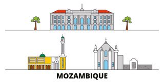 Mozambique flat landmarks vector illustration. Mozambique line city with famous travel sights, skyline, design. Mozambique flat landmarks vector illustration royalty free illustration