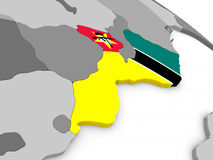 Mozambique on globe with flag Stock Image