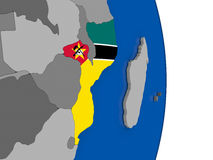 Mozambique on globe with flag Royalty Free Stock Image