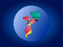 Mozambique globe illustration. Map and flag of Mozambique globe illustration Royalty Free Stock Image