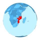 Mozambique on globe isolated Stock Photos