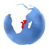 Mozambique on globe isolated on white Stock Image