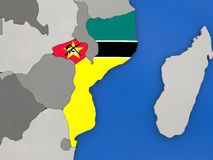 Mozambique on globe Stock Image