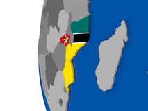 Mozambique on globe Stock Images