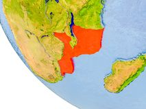 Mozambique on globe. Map of Mozambique in red on globe with real planet surface, embossed countries with visible country borders and water in the oceans. 3D Royalty Free Stock Photo