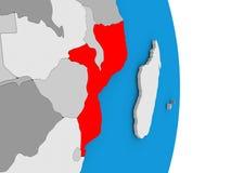 Mozambique on globe Royalty Free Stock Photos