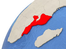 Mozambique on globe Royalty Free Stock Images