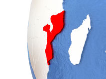 Mozambique on globe Royalty Free Stock Photography