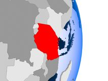 Mozambique on globe. Mozambique in red on model of political globe with transparent oceans. 3D illustration Stock Image