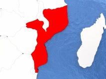 Mozambique on globe Stock Image