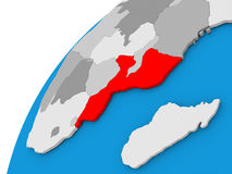 Mozambique on globe in red Stock Image