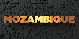 Mozambique - Gold text on black background - 3D rendered royalty free stock picture. This image can be used for an online website banner ad or a print postcard Stock Photos