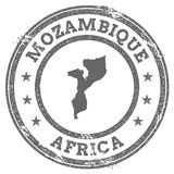 Mozambique grunge rubber stamp map and text. Royalty Free Stock Images