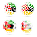 Mozambique halftone flag set patriotic vector. Mozambique halftone flag set patriotic vector design. 3D halftone sphere in Mozambique national flag colors Royalty Free Stock Photos