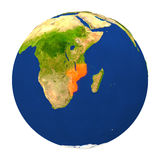 Mozambique highlighted on Earth Stock Photography