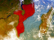 Mozambique on illustrated globe Stock Photography
