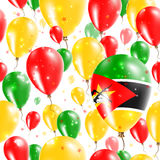 Mozambique Independence Day Seamless Pattern. Flying Rubber Balloons in Colors of the Mozambican Flag. Happy Mozambique Day Patriotic Card with Balloons, Stars Royalty Free Stock Photo
