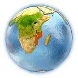 Mozambique on isolated globe Stock Photography