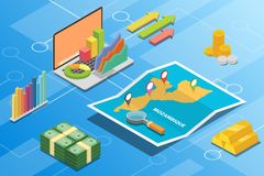 Mozambique isometric financial economy condition concept for describe country growth expand - vector. Illustration vector illustration