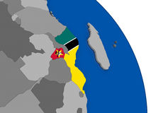 Mozambique and its flag on globe. Political map Mozambique with national flag symbol embedded into the country. 3D illustration Royalty Free Stock Image